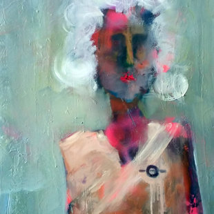 Ethnically dressed woman 50x100 cm