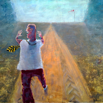 "🚧🗣 ""Country road Echo"" Oil +Acrylic on Canvas,134x151cm, 2018, Kalnin 🚧🗣 ..♥🐾...long"